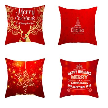 Christmas Cushion Cover 45*45 Red Merry Christmas Printed Polyester Decorative Pillows Sofa Home Decoration Pillowcase fuwatacchi snowman cushion cover christmas day gift decorative pillows cover for home sofa polyester throw pillowcases 45 45cm