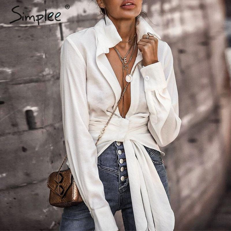 Simplee Sexy Deep V-neck White Blouse Elegant Long Sleeve Slim Short Shirt Streetwear Bow Solid Office Lady Autumn Winter Tops