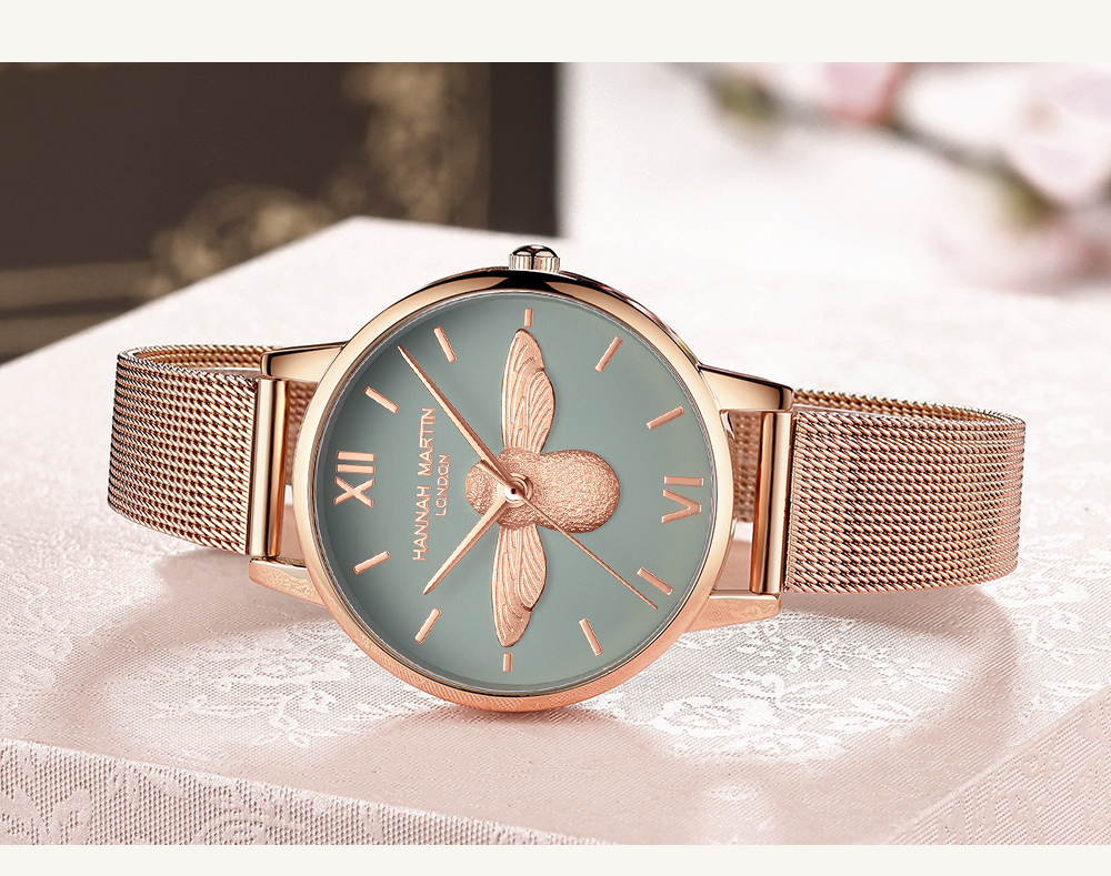 Rose Gold Bee Personality Design Ladies Watch 16