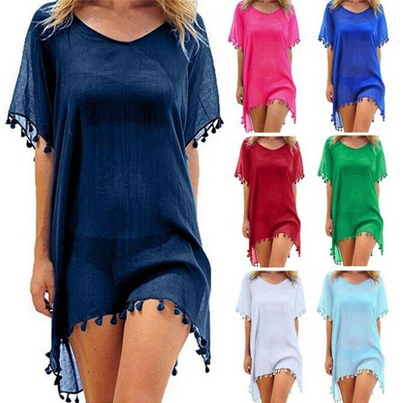 Women Loose Beachwear Swimwear Bikini Beach Wear Cover Up Chiffon Tassel Swimsuit Ladies Summer Dress