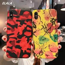 ELALA Marble Case on sFor iPhone 7 8 Plus Matte Soft TPU Cover For 6 S X Xr Xs Max Texture Full protection Cases