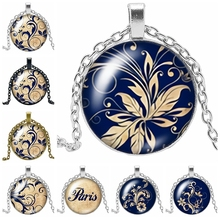 2019 New Creative Necklace National Style Flower Gift Glass Convex Round Leaf Pendant Fashion Jewelry