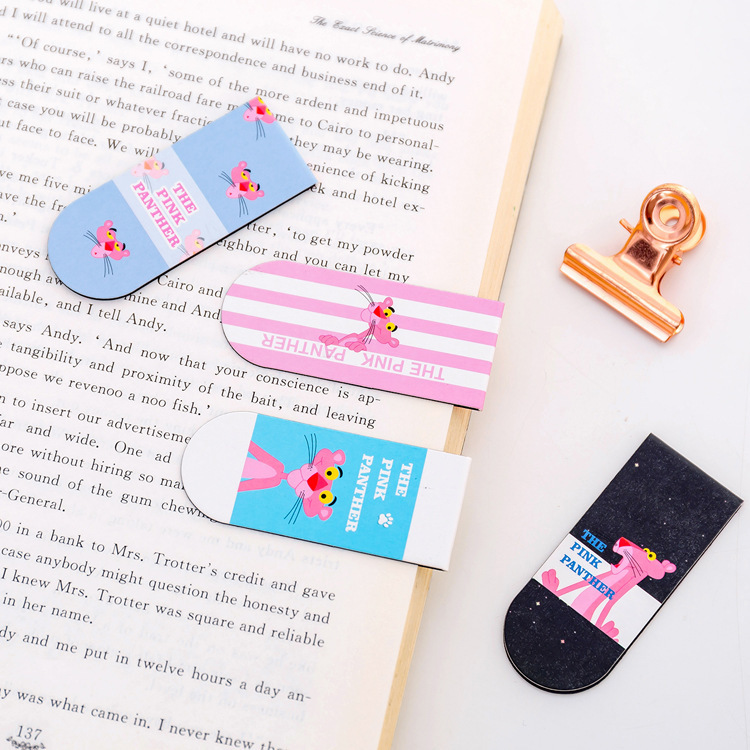 Cute Cartoon Pink Panther Magnetic Magnet Bookmark Creative Fun Students Label Mini Book Holder Doubled Book Holder