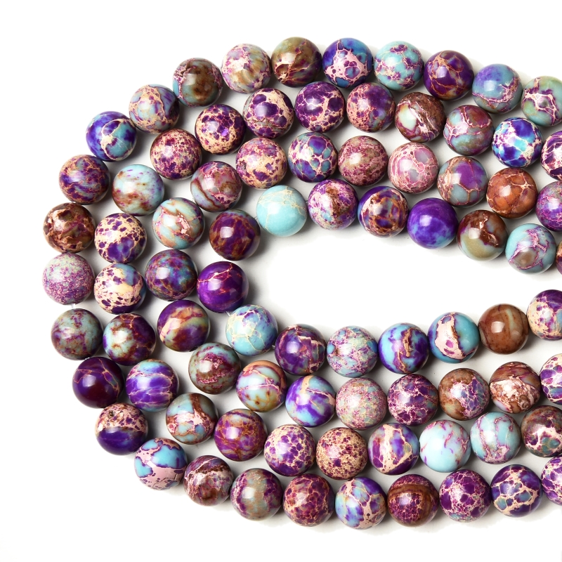 Factory Price Natural Violet Imperial Jasper Round Loose Beads 15
