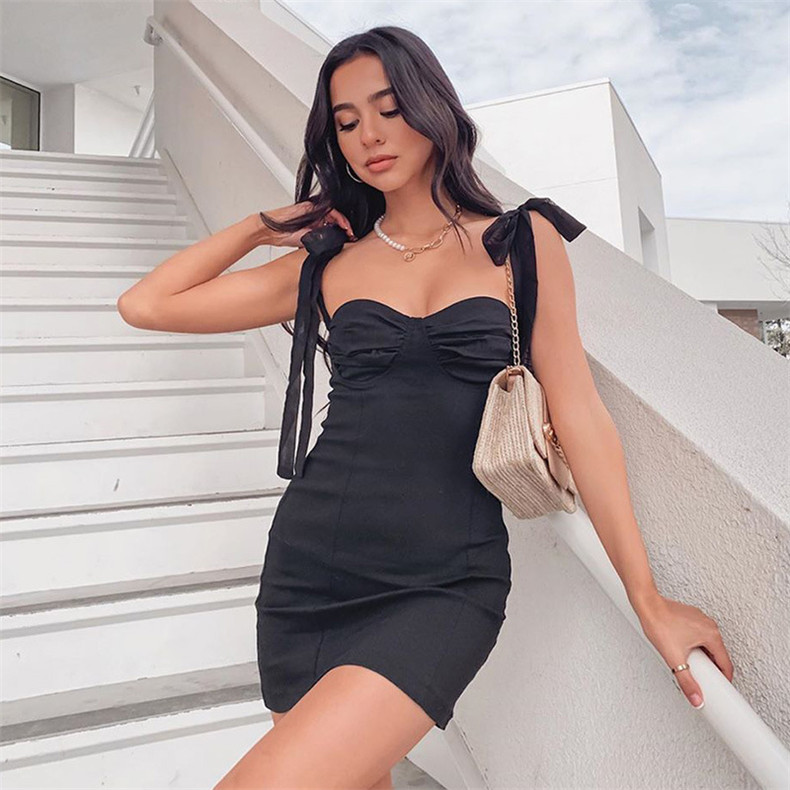 LISM Bow Tied Mini Dress Sexy Bodycon Strapless Off Shoulder Lace Up Solid Black Short Party Club Dresses Female Summer Vestidos