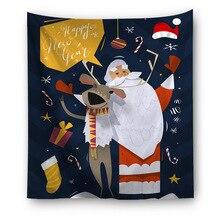 Christmas Cartoon Wall Cloth Tapestries Hippie Boho Wall Tapestry Snowman blanket Yoga Mat Polyester Blankets Beach Carpet three christmas snowman dolls pattern wall tapestry