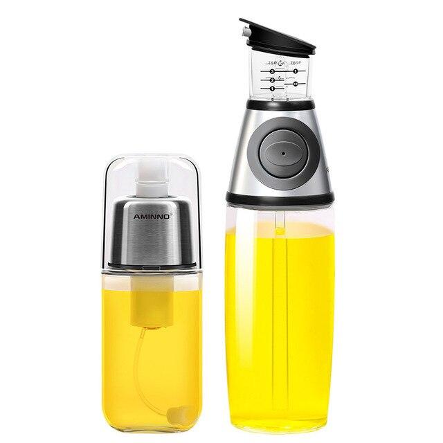 AMINNO Dispensador de aceite de oliva y conjunto de pulverización de bomba Spray de alimentos Botella de vidrio saludable Rociador de barbacoa Bomba de acción Acción señor de alimentos
