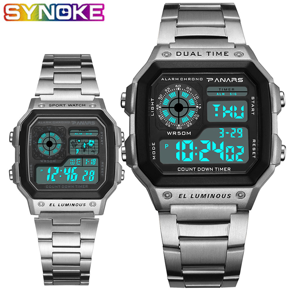 SYNOKE Digital Watches Clock Business Sport Stainless Male Count-Down