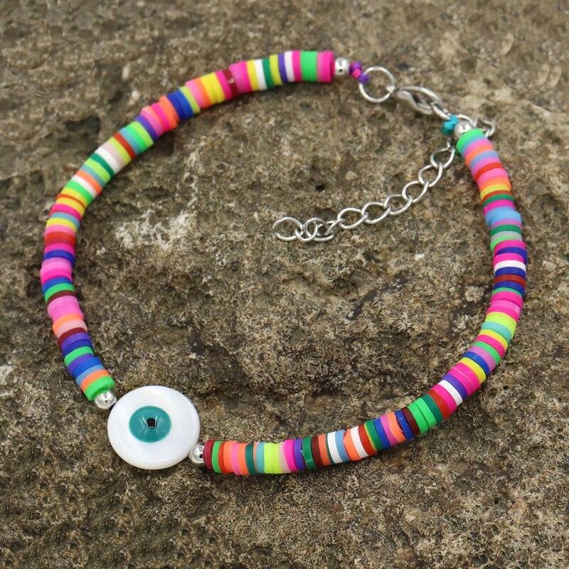 Женские браслеты на лодыжке, богемные ювелирные изделия, полимерная глина, натуральный корпус, Lucky Eye, регулируемый ножной браслет, пляжные а...