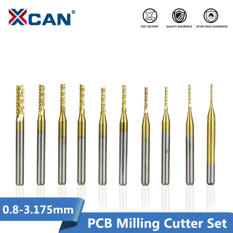 """10Pcs 0.8mm Carbide End Mill Engraving Router Bits for PCB Machine 1//8/"""" Shank"""