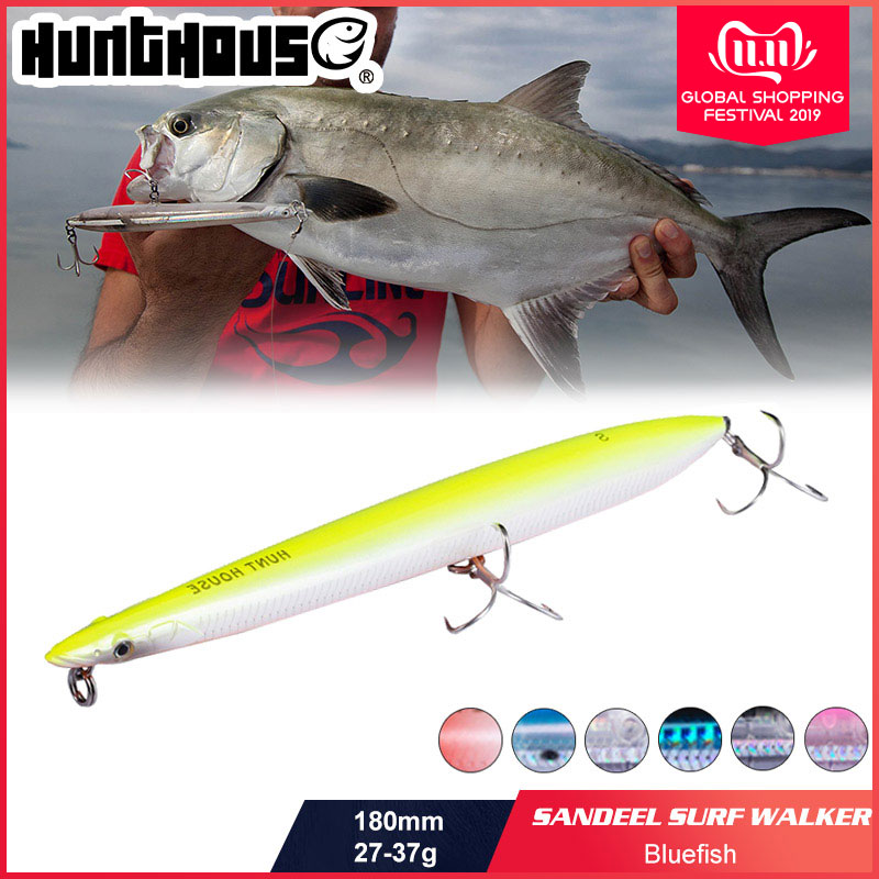 Hunthouse Fishing Lure Floating Sinking Pencil Sandeel Shape Noisy Design 180mm 27g/37g hard crankbait long pencil