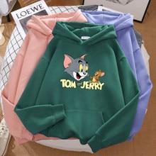Gato tom mouse jerry novo ulzzang solto casual hoodies feminino manga longa bonito feminino impressão kawaii inverno topos harajuku camisolas