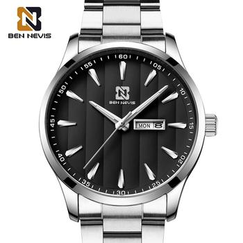 цена на BEN NEVIS Quartz Watches for Men Waterproof Date Display Silver Stainless Steel Band Sports Wristwatches Relogio Masculino