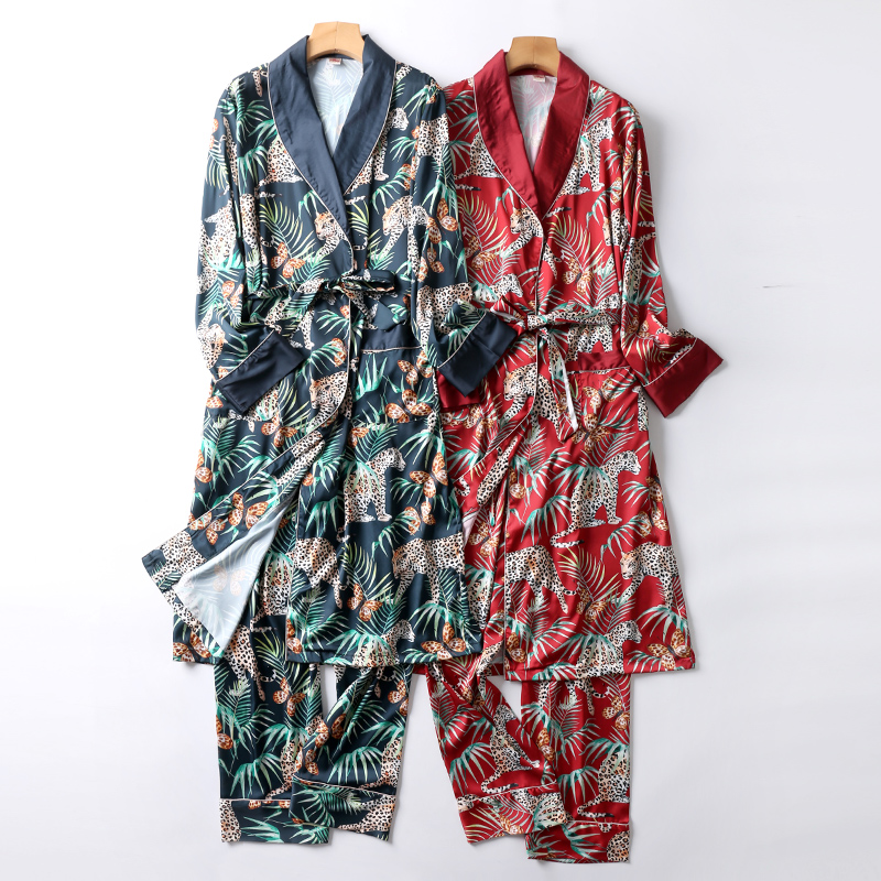 Luxury Two-Pieces  Silk Nightgown Satin Male Sleepwear Loose Animal Silky Long Sleeve Robe And Long Pants Bathrobe Set For Men