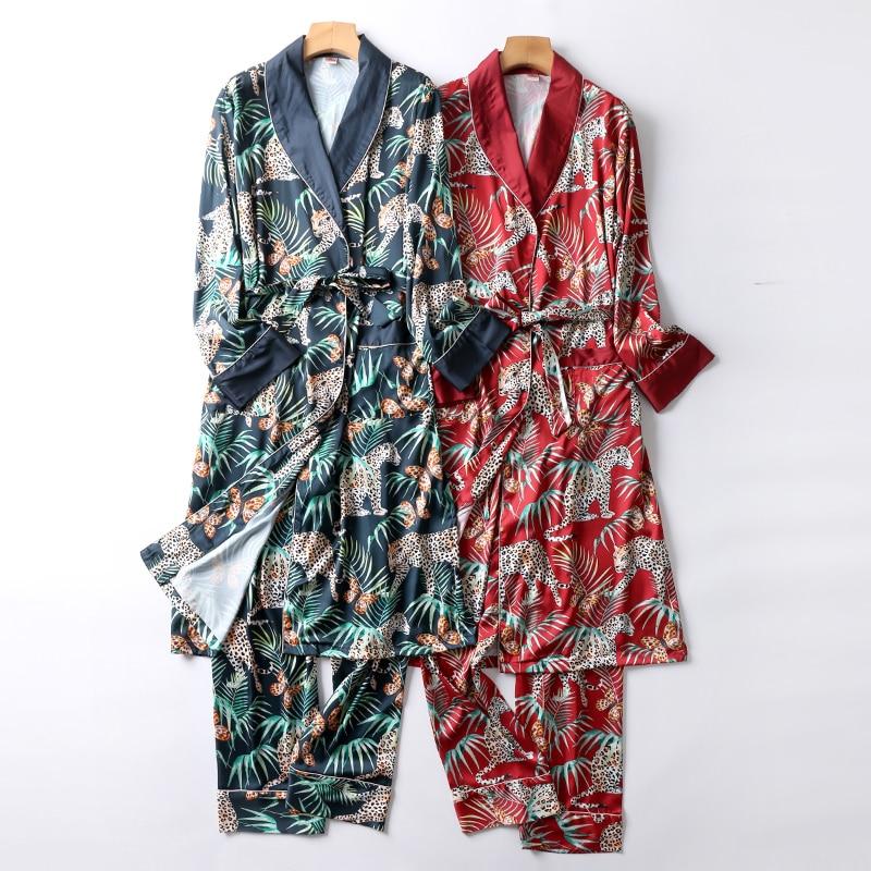 Luxury Two-Pieces  Silk Nightgown Satin Male Sleepwear Loose Animal Silky Long Sleeve Robe And Long Pants Bathrobe Set For Men