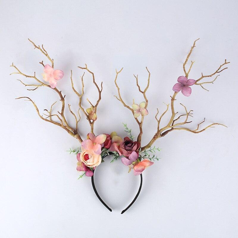 Senhoras gótico ramo flor bandana natal antler