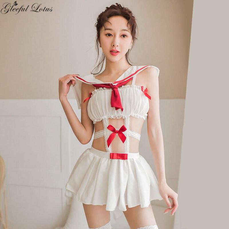 Милое белое матросское платье наряд Лолиты эротический карнавальный костюм