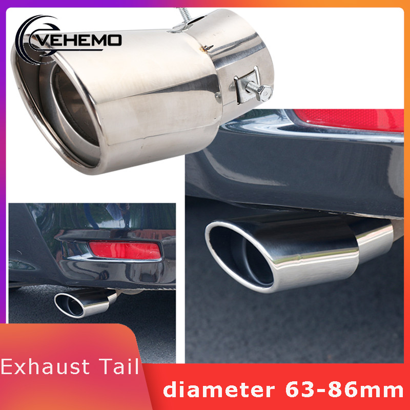 Vehemo Car Tail Pipe Exhaust Tail Muffler Tip Pipe Diameter 63-86mm Stainless Steel Car Accessory Car Styling Outlet Exhaust