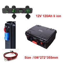GTK 12V 120AH akumulator litowo-jonowy BMS 3S do 1000W magazynowania energii słonecznej łódź RE sprzęt agd + ładowarka 10A tanie tanio CN (pochodzenie) 106*272*355MM 100Ah navigation light Li-ion fresh stock