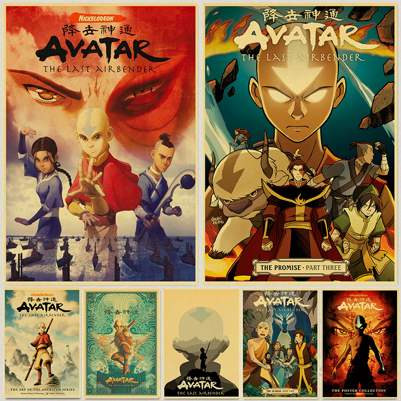 Avatar The Last Airbender Aang Fight Anime Poster Vintage Kraft Paper Posters and Prints Wall Art Picture Home Room Decor
