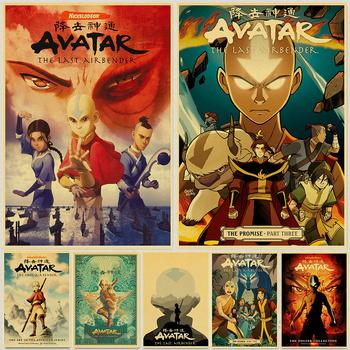 Avatar ostatni Airbender Aang walka plakat Anime papier pakowy Vintage plakaty i druki Wall Art Picture wystrój pokoju tanie i dobre opinie lanxihaibao CN (pochodzenie) POSTER Pojedyncze Wodoodporny tusz Animacja Bezramowe lustra CLASSIC wall decor painting Malowanie natryskowe