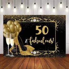 Buon 50 ° compleanno favoloso sfondo tacchi alti Champagne oro Glitter foto sfondo Studio 50 decorazioni per feste di compleanno