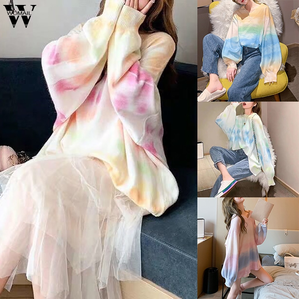 Womail Sweater Women Fashion Autumn Oversize Rainbow Sweater Casual Multicolor Knitted Tie Dyeing Pullover Bat Sleeve Female
