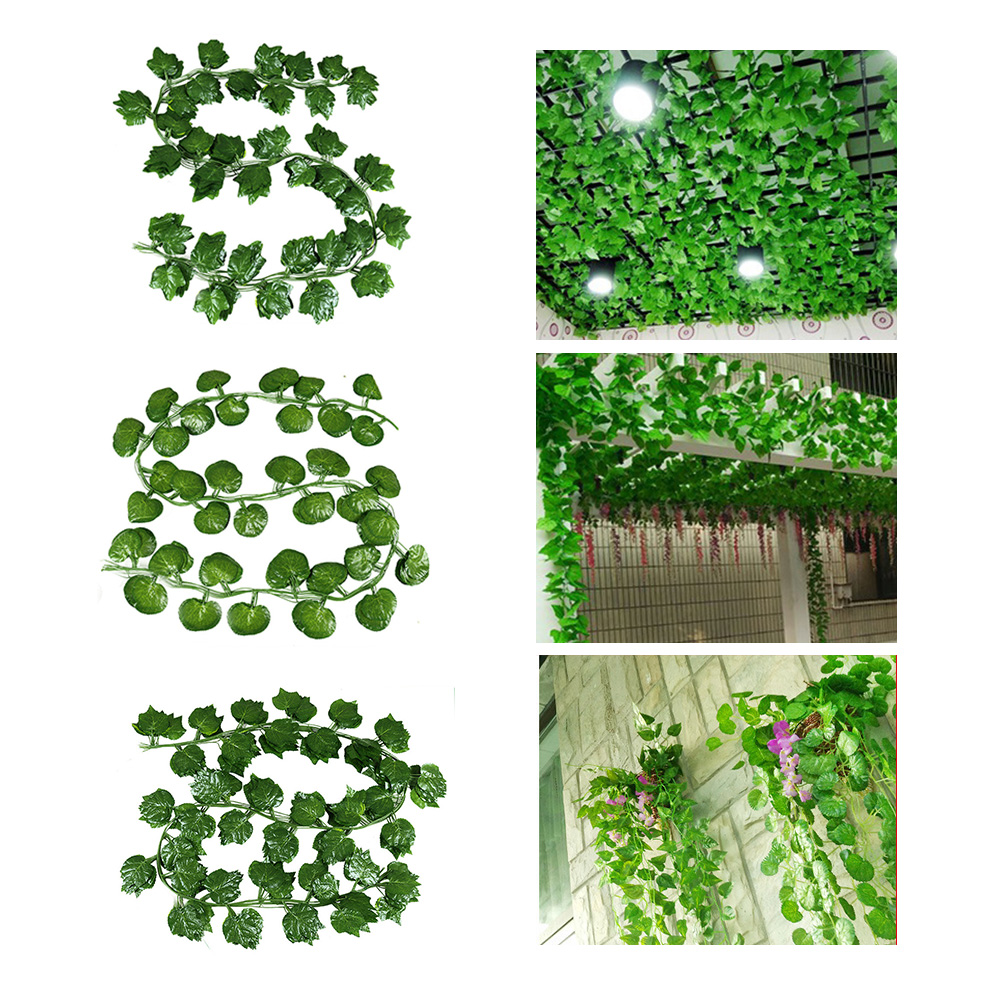 12pcs 3 Style Room Grape Vines Party Hanging Green artificial Decoration Ivy 7.5ft 36/72 leaves Artificial Home Decor Garden-0