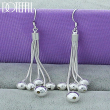 DOTEFFIL 925 Sterling Silver Smooth Matte Five Beads Drop Earrings For Woman Wedding Engagement Fashion Party Charm Jewelry