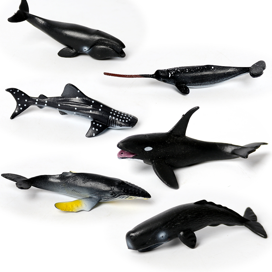 6pcs MINI Realistic Whale,Shark Narwhal,sperm Whale Mammals Figure Toys,Ocean Creatures - Sea Creatures Great For Party Favors
