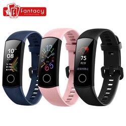 Versi Global Band Kehormatan 5 Band5 Smart Gelang Darah Oksigen Real Time Monitor Detak Jantung 0.95 Inci AMOLED Layar 5ATM Tahan Air
