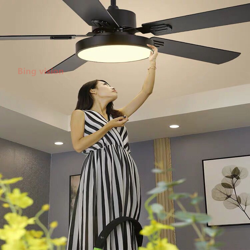 Modern Led Black Ceiling Fan  5 Blad Esstainless Steel Ceiling Fans Lamps With Lights For Living Room Home  Dimming Lighting
