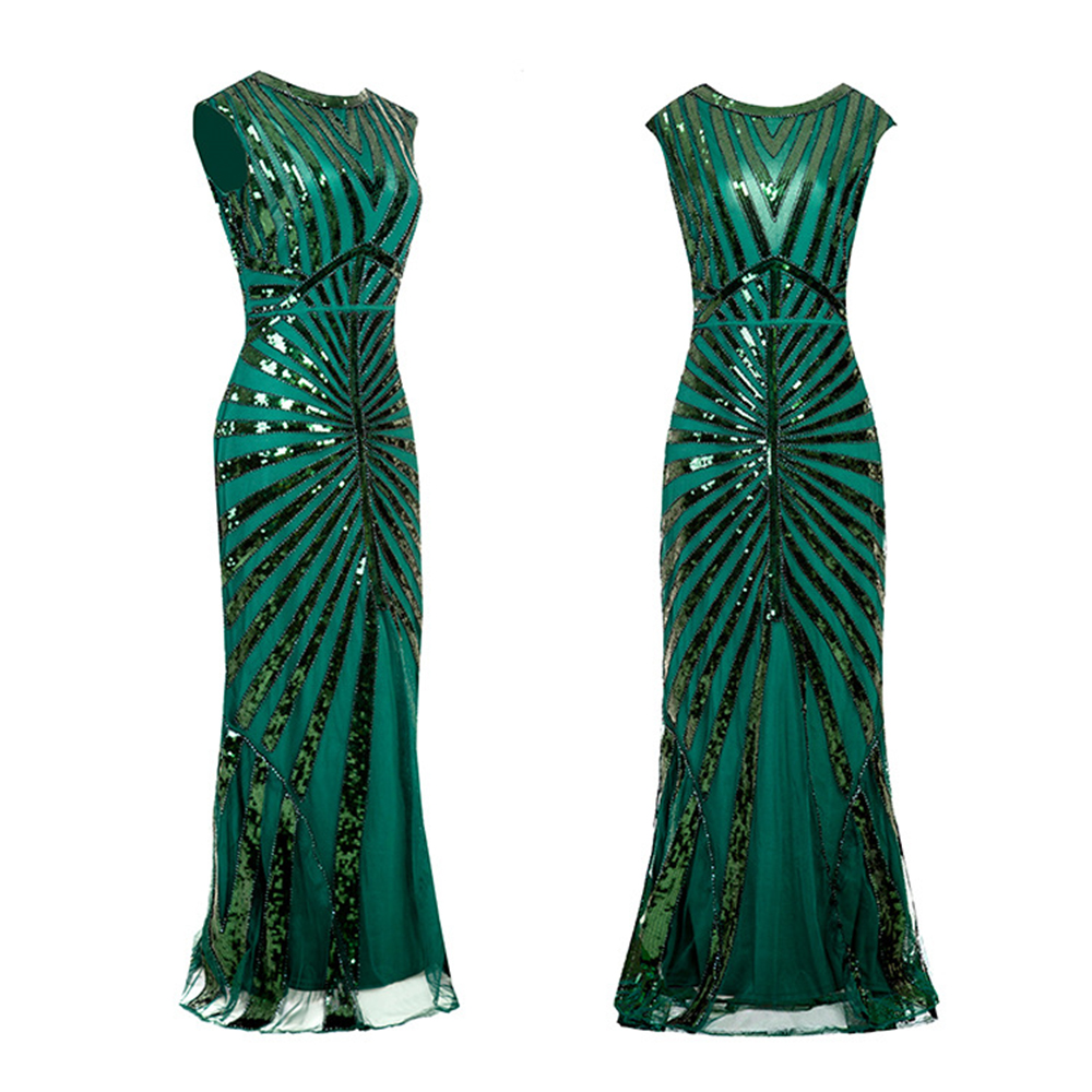 Women's 1920S GATSBY Sequins Long Dress O-neck Beaded Fringed Dress Hot Club & Night Out Dresses Sexy Fringed Night Club Dresses