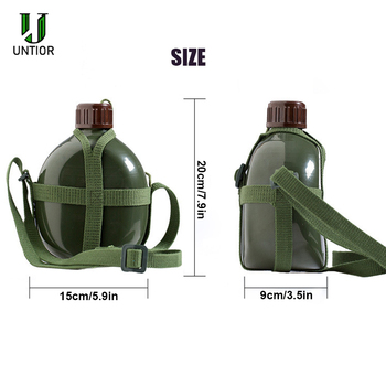 UNTIOR Aluminum Military Army Flask Wine Water Bottle Cooking Cup With Shoulder Strap Hiking Kettle Outdoor Tools 1L/2L 6