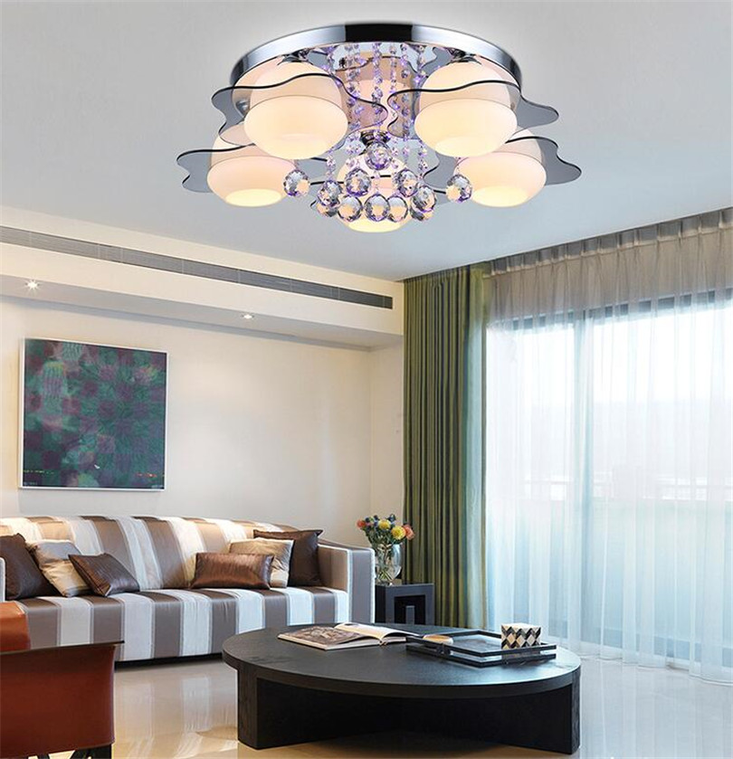 Image 4 - minimalist  3/5 light colored led crystal chandeliers for Bedroom Remote Control Glass Surface Mounted ceiling lamp Fixture-in Ceiling Lights from Lights & Lighting