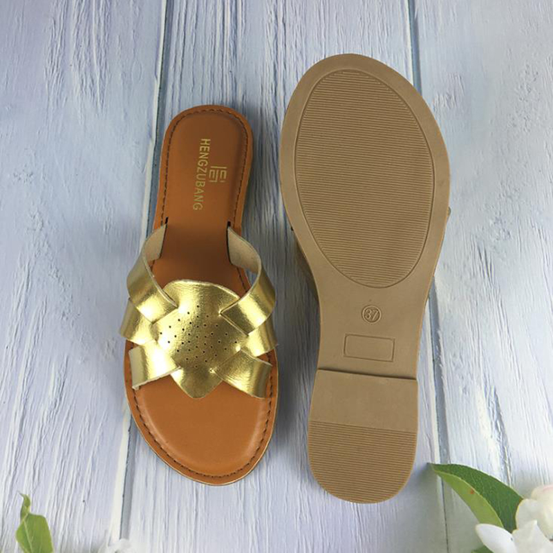 Zapato Comfort PU Leather Outside Summer Slides Retro Women Slippers Flat with Slip-on Slides Beach Women Shoes Clearance