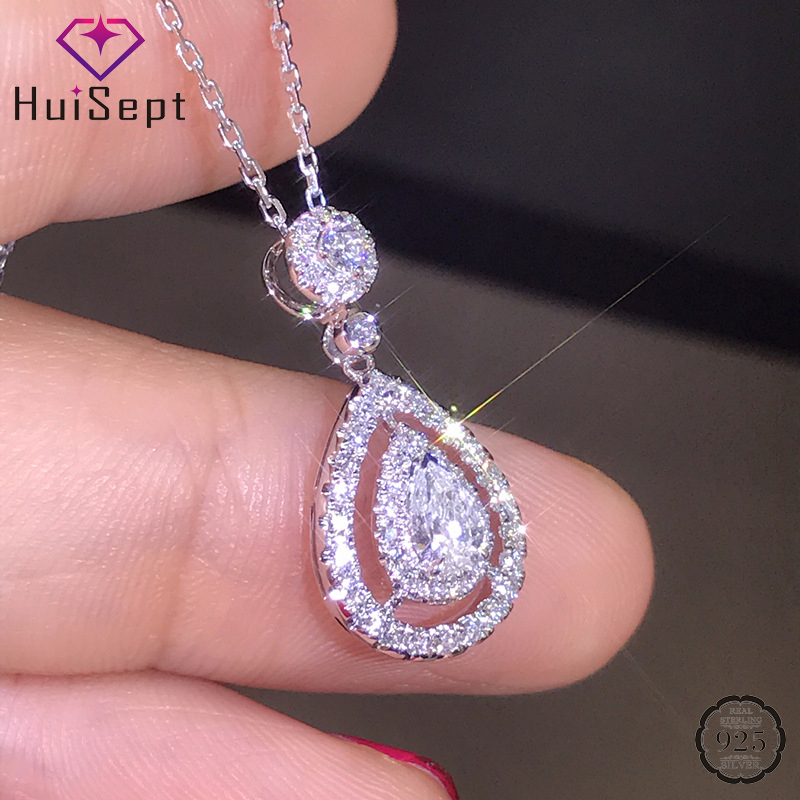 HuiSept Fashion Women Necklace 925 Silver Jewelry Water Drop Shaped Zircon Gemstone Pendant Ornaments For Wedding Gift Wholesale