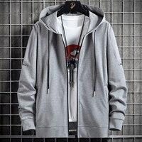 Spring Autumn Zip Up Hoodie Men Streetwear Black Grey Loose Hooded Sweatshirts Male Cotton Casual Hoody Jackets Big Size 8XL