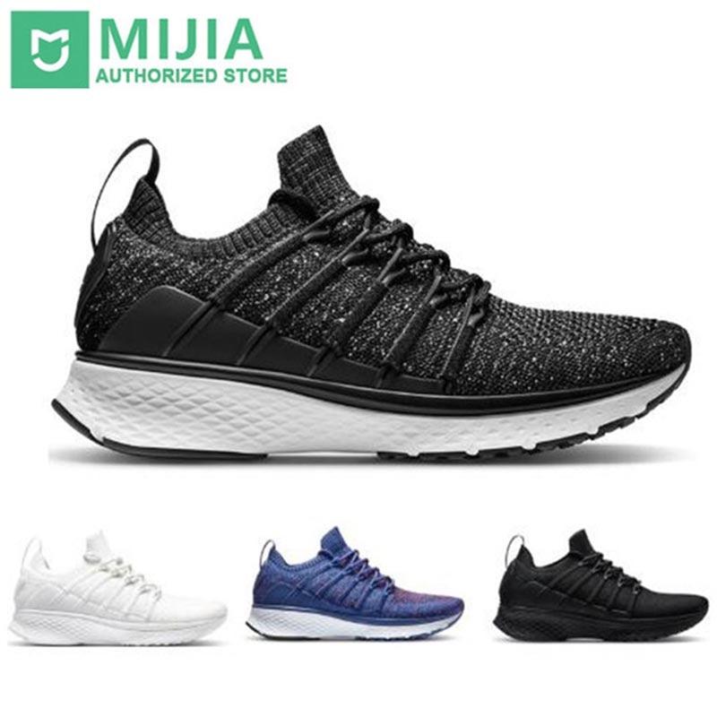 Stock Xiaomi Sneaker 2 Mijia Running Shoes Sport Uni-moulding Shock-absorbing Fishbone Lock System Elastic Knitting Vamp For Men