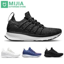 Stock Xiaomi Sneaker 2 Mijia Running Shoes Sport Uni-moulding Shock-absorbing Fishbone Lock System Elastic Knitting Vamp for Men