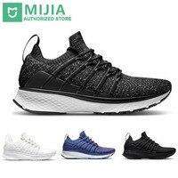 Stock Xiaomi Sneaker 2 Mijia Running Shoes Sport Uni moulding Shock absorbing Fishbone Lock System Elastic Knitting Vamp for Men