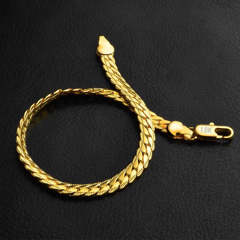 Modny Punk wąż płaski męski łańcuszek bransoletka wysokiej jakości srebrny złoty krawężnik kubański Link Figaro Link Chain bransoletka biżuteria