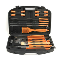 18PCS Portable Stainless Steel Barbecue Grill Accessories Tool Kit BBQ Cooking Utensil Set Barbeque with Carry Bag for Picnic