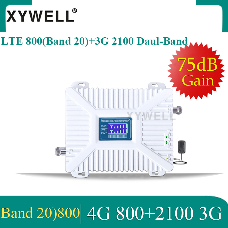 Cellular Amplifier 4G LTE 800 Band20 3g 2100 Dual Band Cellular Signal Booster LTE 4G Amplifier 4G 800 2100 GSM Signal Repeater