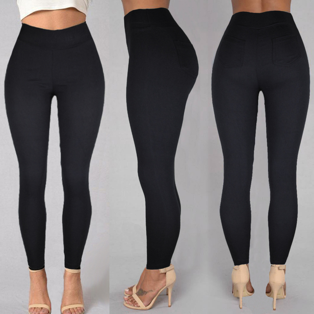 Plus Size Women Pencil Pants Cotton Trousers 2019 New Pocket Trousers Slim Jeggings Denim Skinny 31