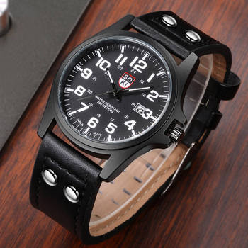 цена 2020 Fashion Military Quartz Watch Men Sports Wrist Watches Clock leather Wrist Watch Date calendar clock Relogio Masculino онлайн в 2017 году