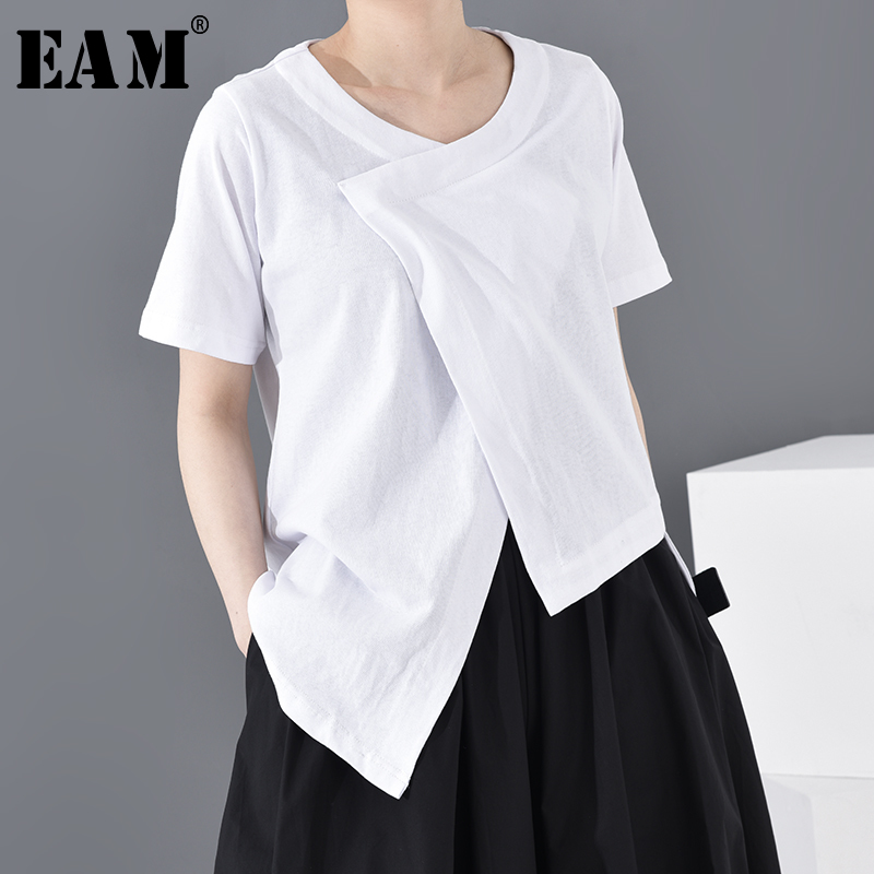 [EAM] Women White Asymmetrical Split Joint Big Size T-shirt New Round Neck Short Sleeve  Fashion Tide  Spring Summer 2020 A598
