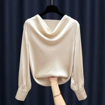 Fashion high-grade airy neckline satin blouse long-sleeved chiffon Plus Size Women Chiffon Blouse Shirt Elegant