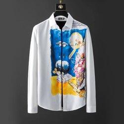 DUYOU Mens Cotton Shirt Men Dress Shirt Men Space exploration astronaut print shirt High Quality Slim Fit Casual Shirts DY2910