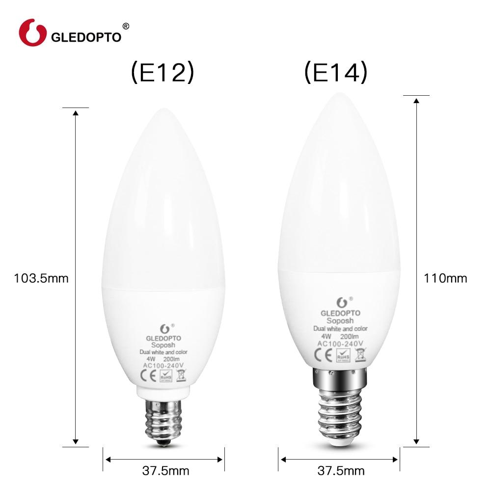Купить с кэшбэком GLEDOPTO zigbee zll led 4W candle light bulb rgb/rgbw/rgbww/cw smart APP control AC100-240V zigbee gateways rgb+cct zigbee 3.0
